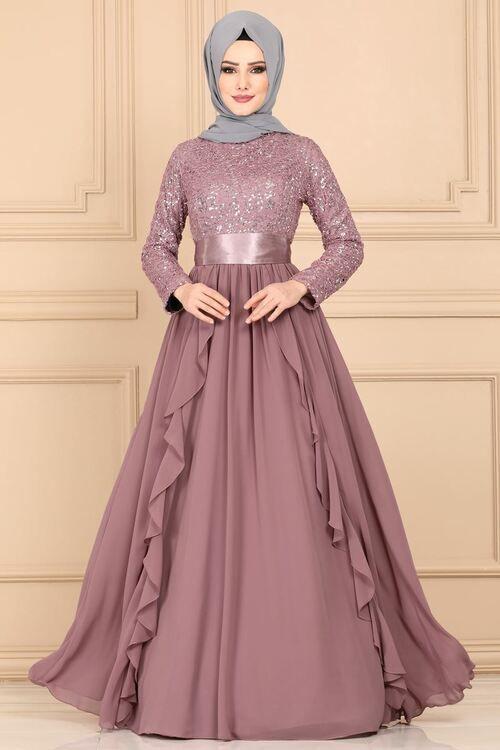 Modaselvim Abiye Firfirli Pul Payet Abiye Ech7307 Pudra Model Pakaian Muslim Pakaian Jelita Model Pakaian