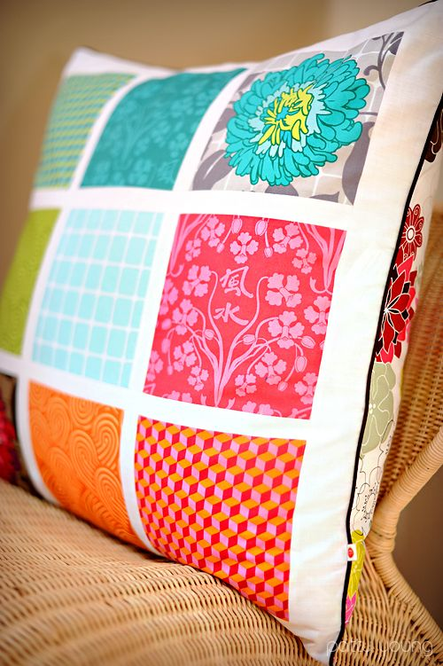 Patchwork pillow tutorial. I've been thinking A LOT about patchwork lately. #sewing #patchwork #tutorial