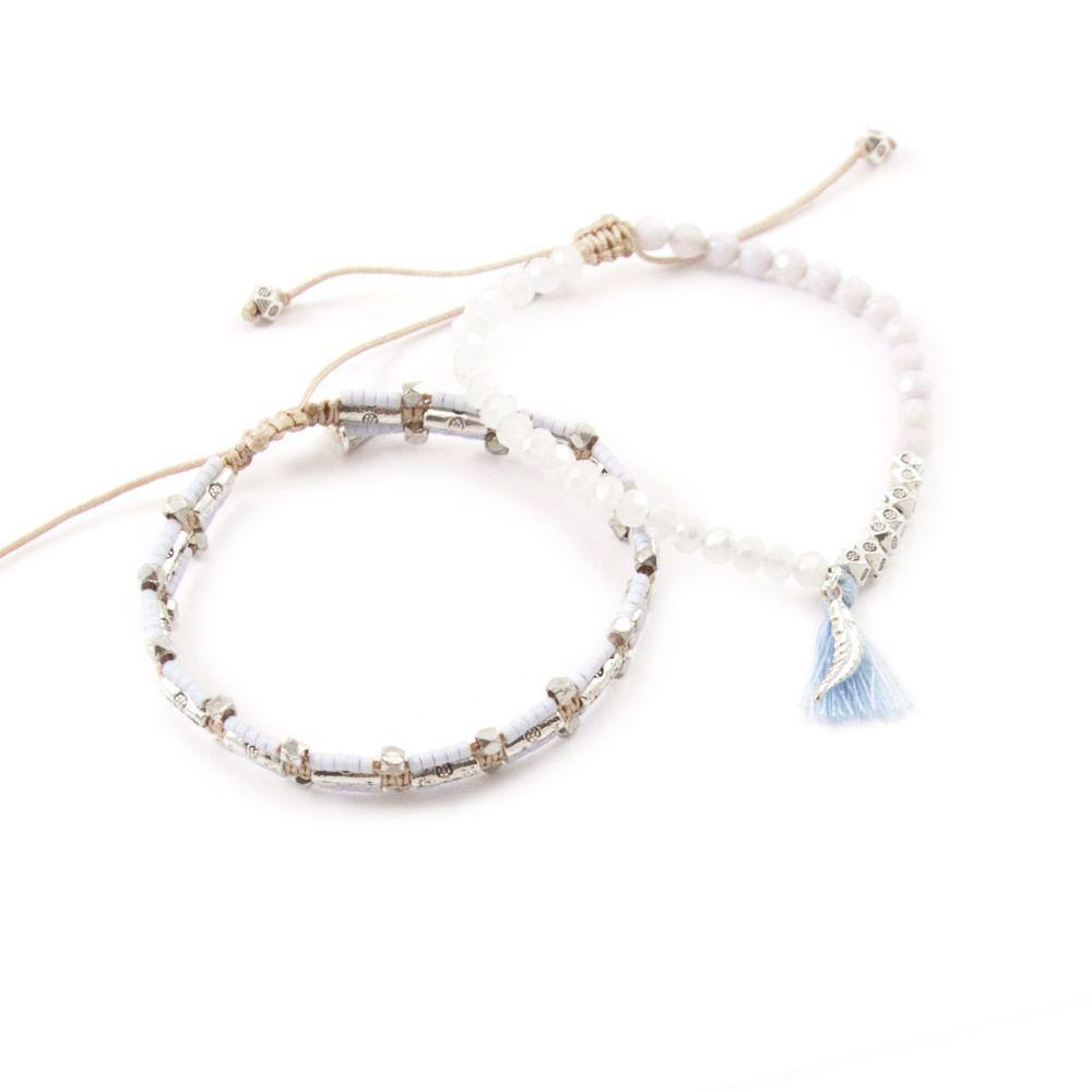 Chan Luu - Blue Lace Agate Mix Bracelet Set, $70.00 (http://www.chanluu.com/bracelets/blue-lace-agate-mix-bracelet-set/)