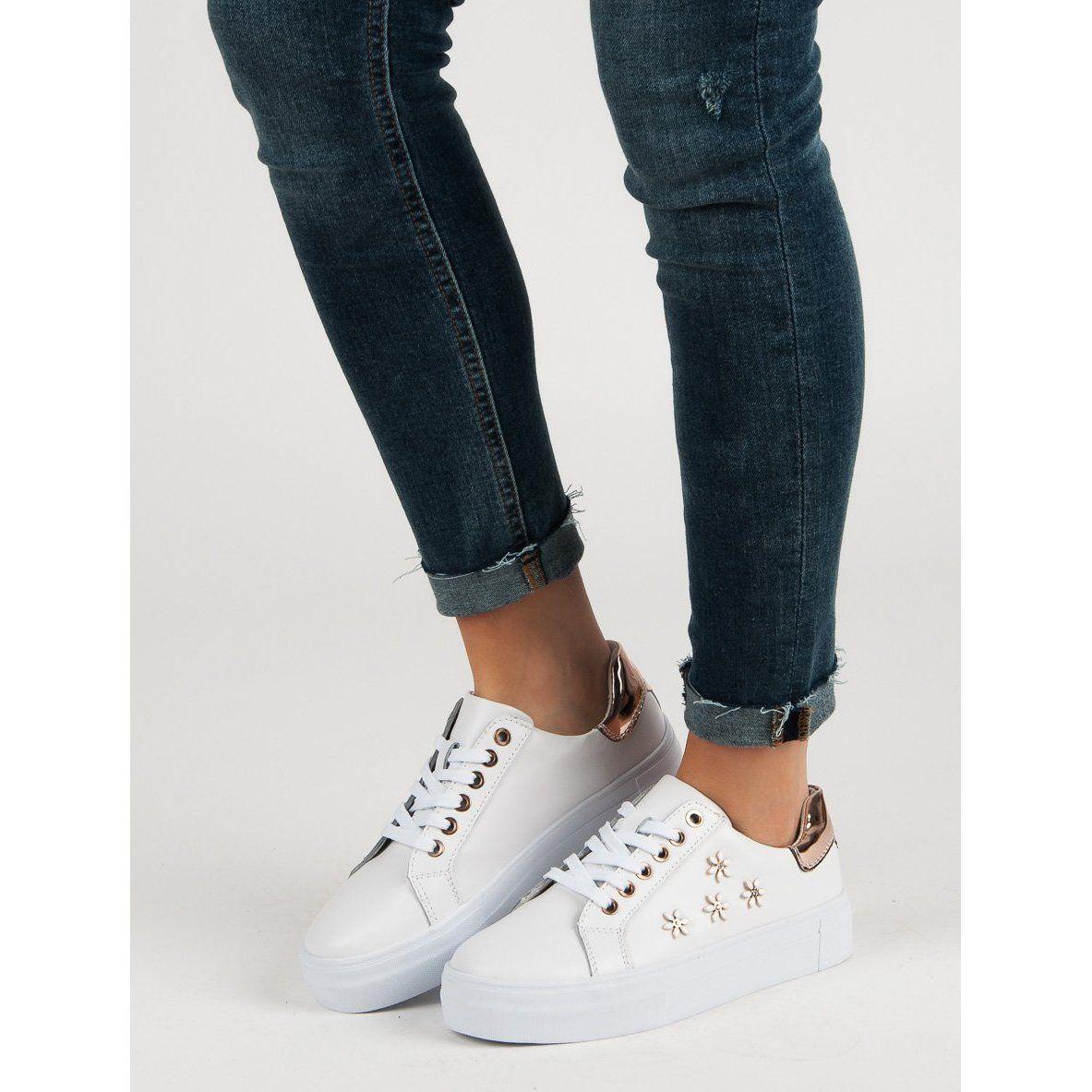 Filippo Skorzane Buty Sportowe Z Kwiatkami Biale Shoes White Sneaker Fashion