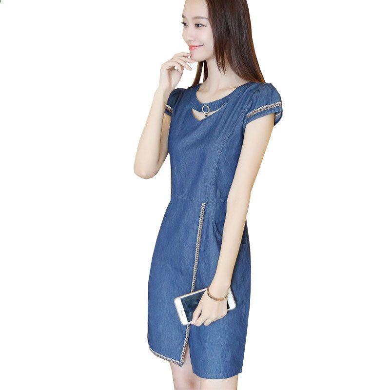Новий літній джинсовий одяг жіночий 2018 Мода Спліт сукня пуловер Джинс  пронизана міні сукня Сексуальний плаття 50e5090f6cb6a