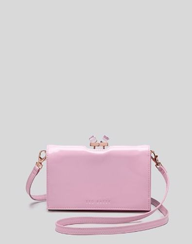 Ted Baker Dusty Pink Patent Square Crystal Xbody Cross Clutch
