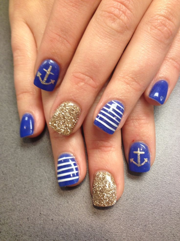 Nautical nails! The nail lounge | Pedicures | Pinterest | Nautical ...
