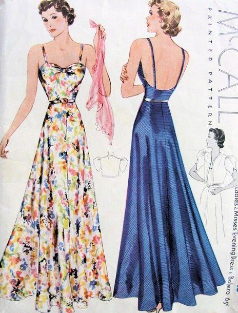 1930s ART DECO EVENING GOWN PATTERN BEAUTIFUL BIAS CUT, FULL SKIRTED ...