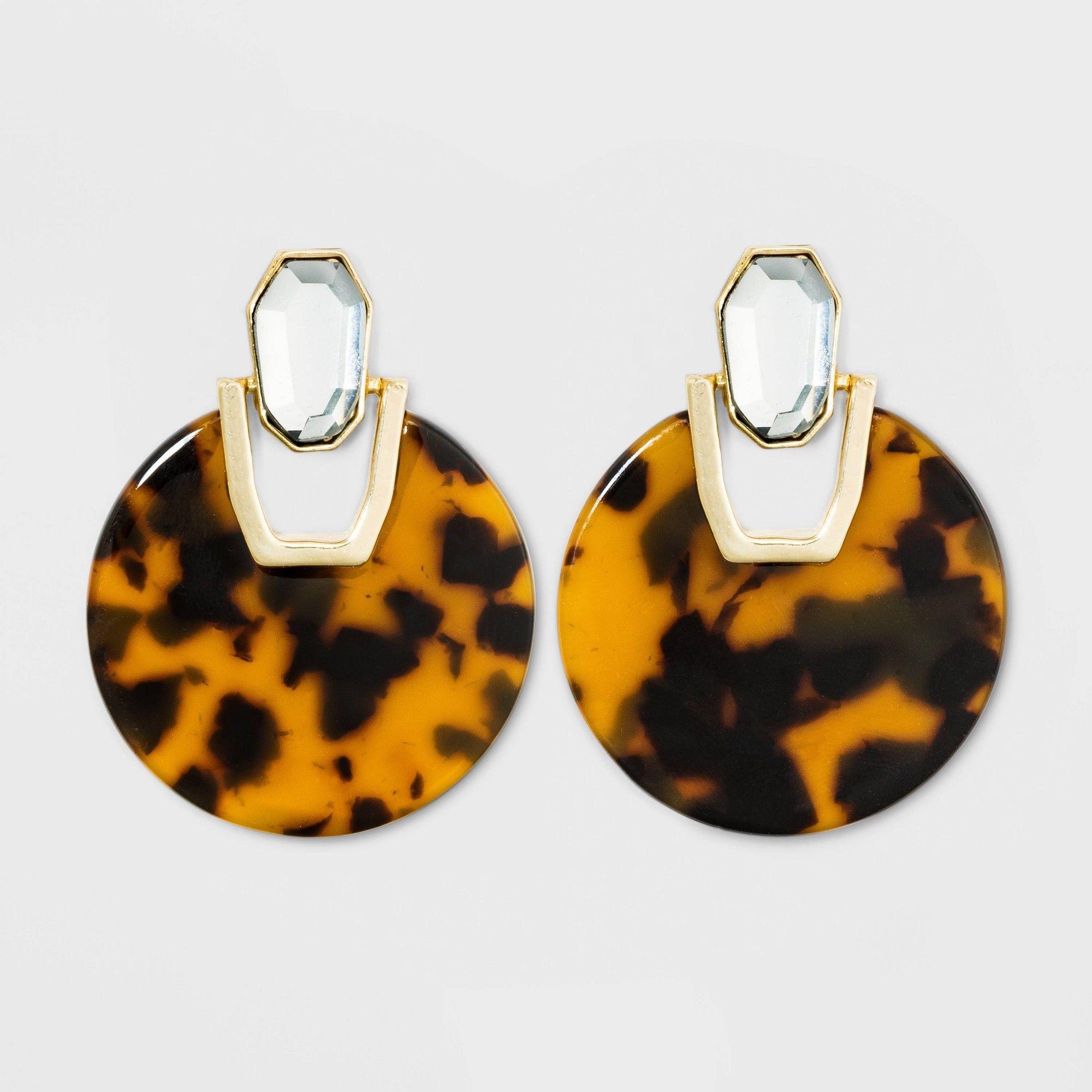 Tortoiseshell Acrylic Circle Statement Earrings – A New Day Tortoise, Women's, C…