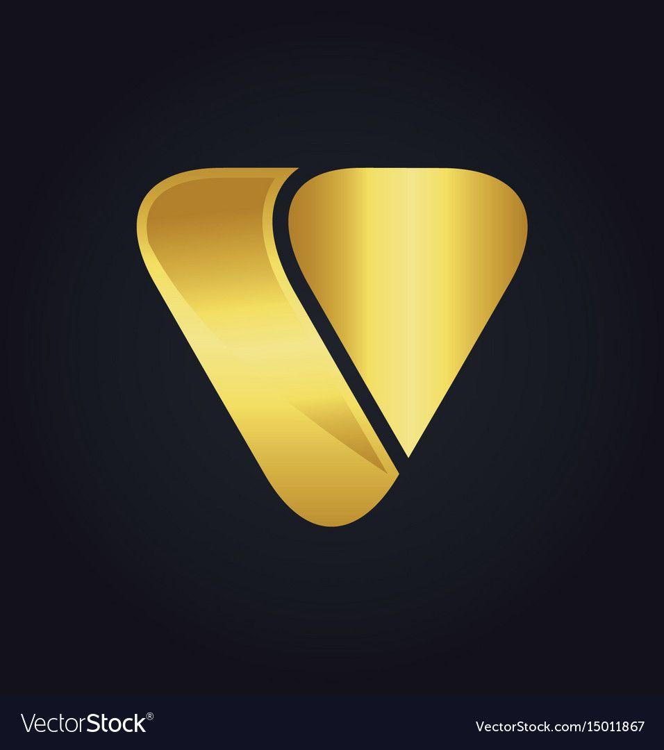Triangle Shape Letter V Gold Logo Vector Image On Gold Logo