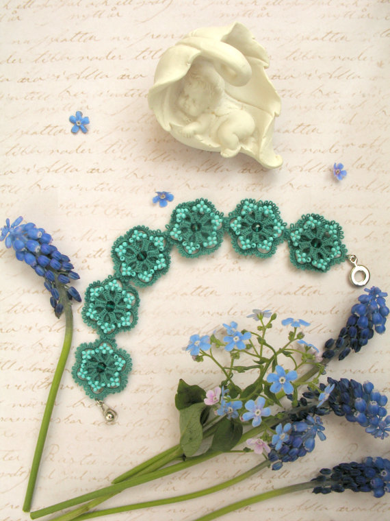 Verde smeraldo tessuti & chiacchierino di di BardarSvetlanaLace