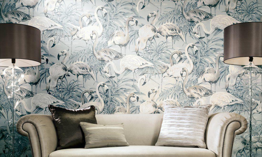 Fürs Wohnzimmer: Tropische Tapete Flamingo von Arte #tiere #vögel ...