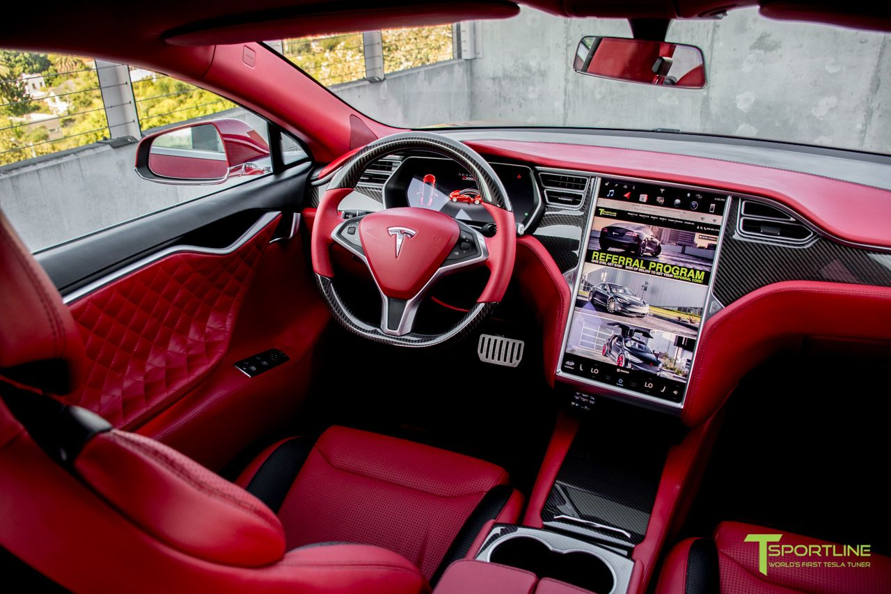 Custom interior in bentley red and ferrari black with gloss carbon fiber trim find this pin more on tesla model  also rh pinterest