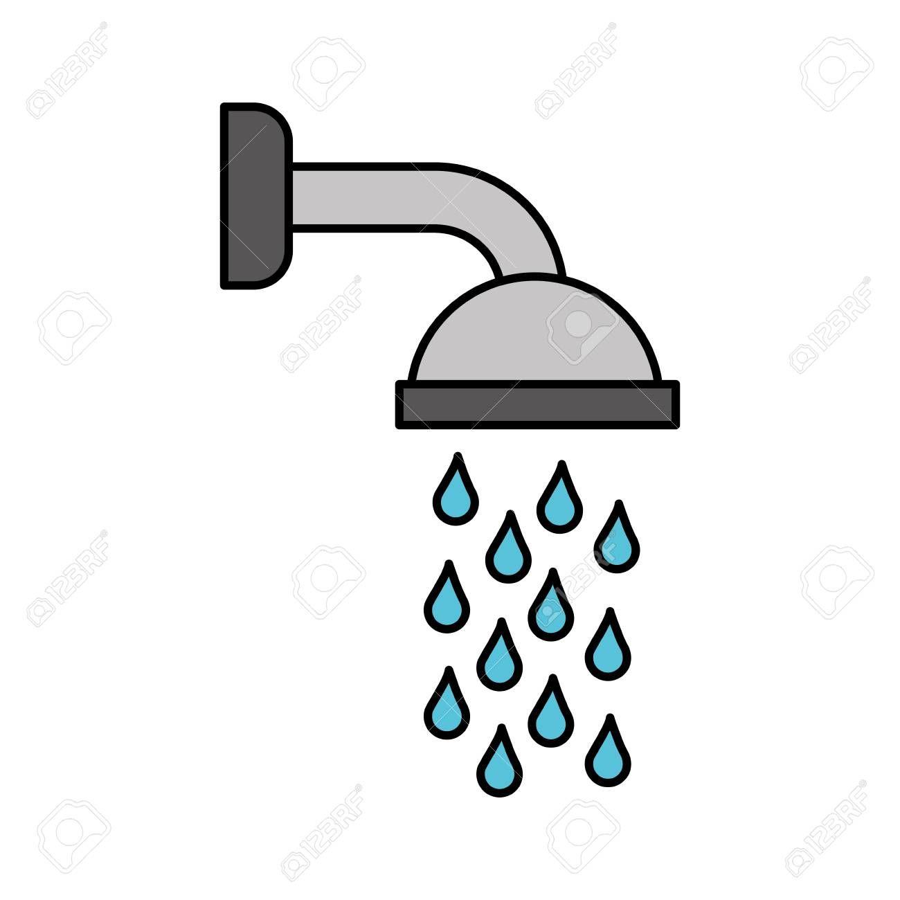 Shower Head In Bathroom With Water Drops Flowing Vector