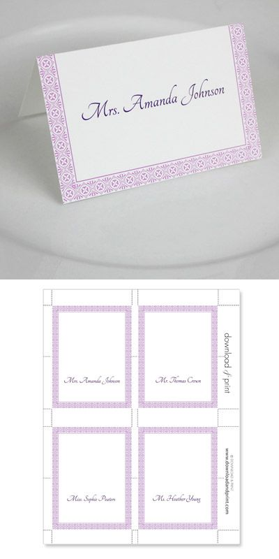 Make Your Own Wedding Invitations Download Print Wedding Place Card Templates Place Card Template Word Card Templates