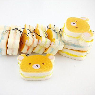 Kawaii Bear Squishy Hamburger Soft Bear Bread Scented Straps Phone Charms