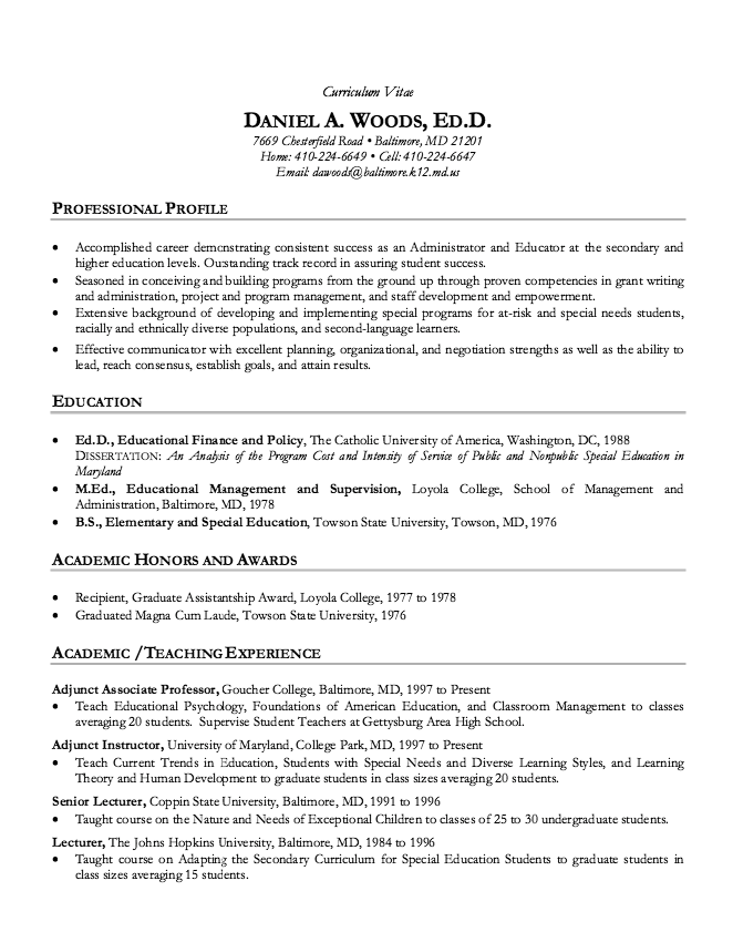 Academic Resume Sample Academic Cv Resume Sample  Httpresumesdesignacademiccv