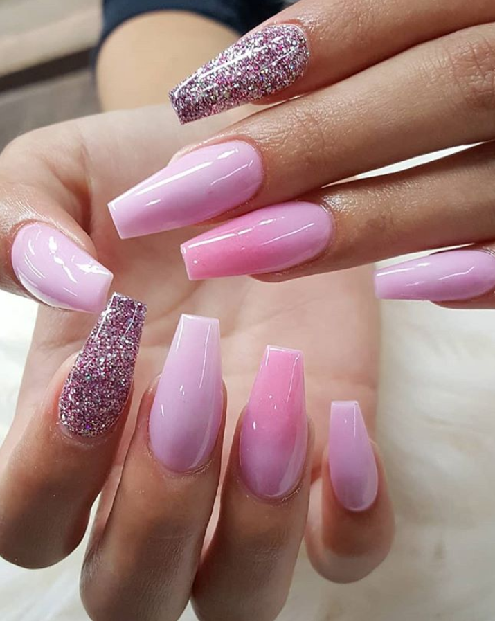 31 Cute Acrylic Pink Coffin Nails Design For Long Nails