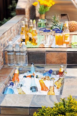 Built in cooler for an outdoor kitchen. Great idea! #allstone #convenient #summer #drinks #outdoor #design
