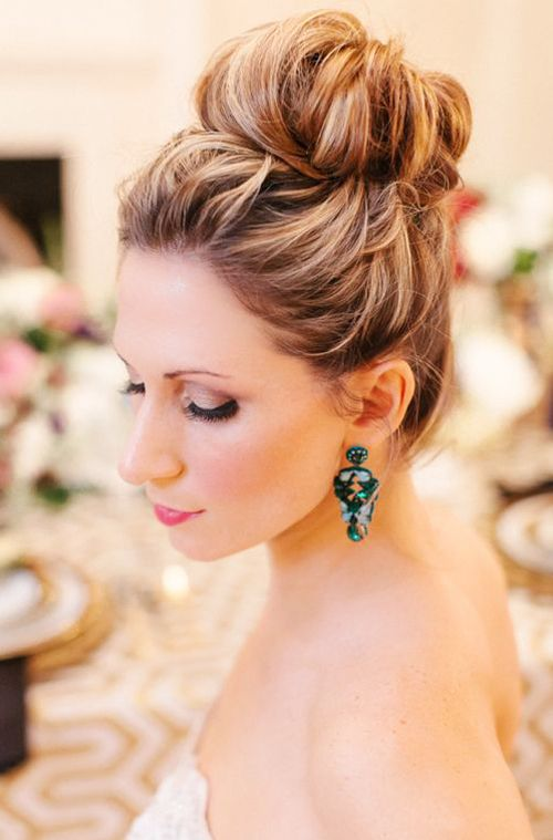 High Updo Wedding Hairstyle For Long Hair Hair Buns Pinterest