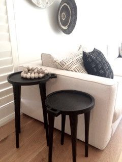 These Black Side Tables Are Ethiopian Coffee Trays With Long Legs. Paired  Together They Are A Unique Alternative As A Casual Side Table Or Bedside  Table.