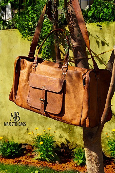 """Majestic Bags 24"""" Leather Duffel Travel Gym Overnight Weekend Leather Sports Cabin"""