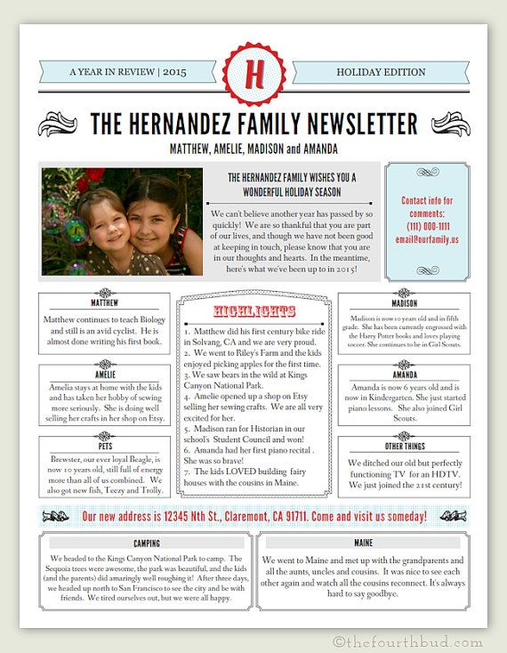 Year In Review Or Newsletter Template In Pdf For Print Special