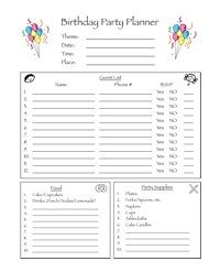 Birthday Party Planner Form Helps Kids Realize What Goes Into