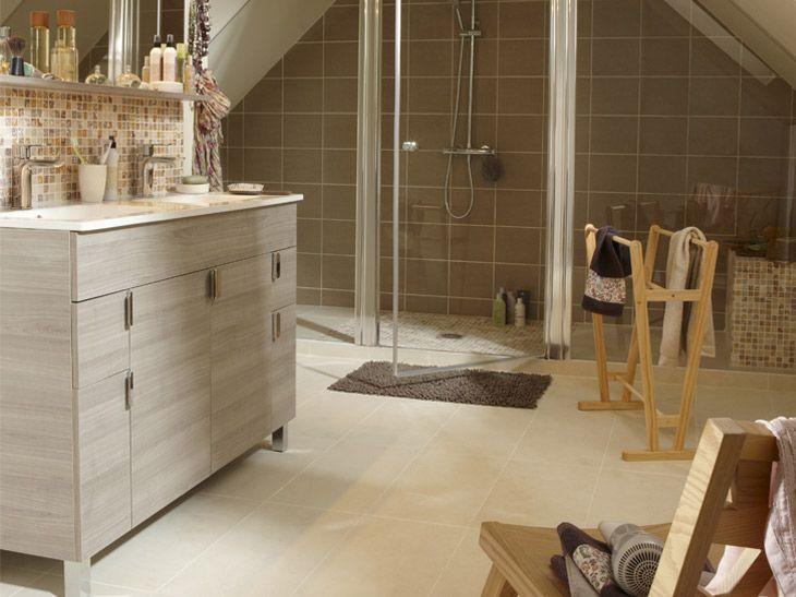 Carrelage Leroy Merlin beige nature pour la salle de bain ...