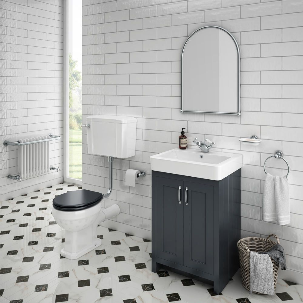 Victorian Chequered Gloss White Marble Effect Floor Tile 600 X