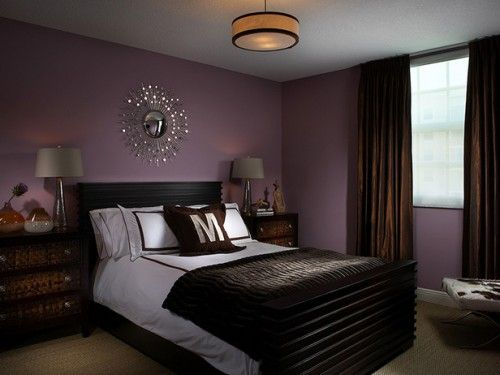 bedroom wall paint color ideas | purple and chocolate bedroom
