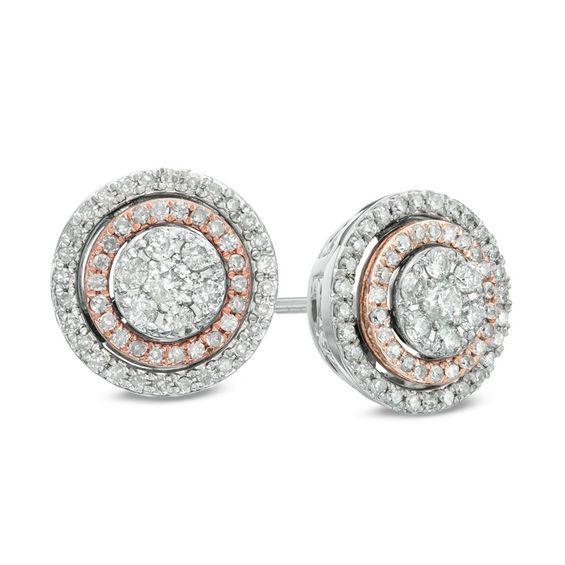 1 2 Ct T W Diamond Cer Double Frame Stud Earrings In