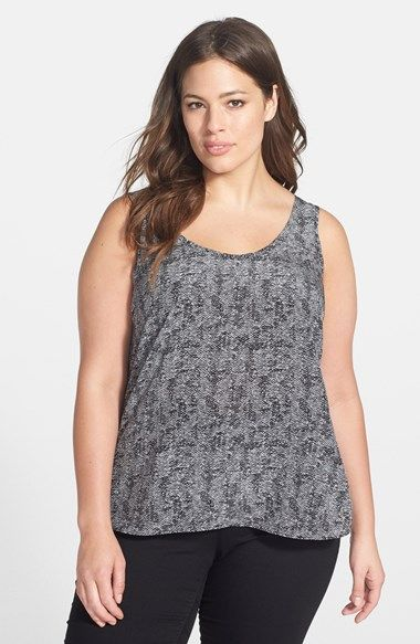 24b4c56e34a Eileen Fisher  Roadster  Scoop Neck Silk Crepe Tank (Plus Size) available  at  Nordstrom