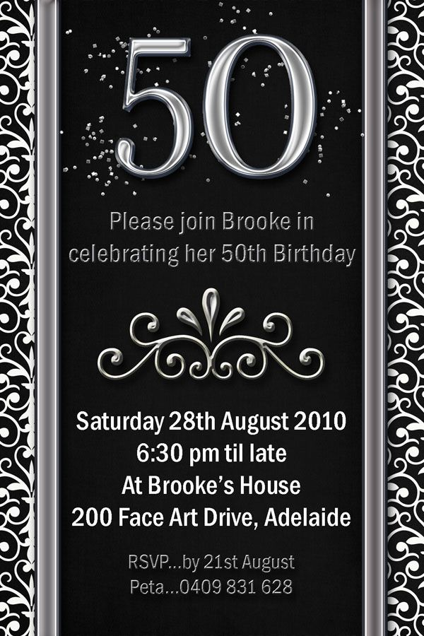 example 50th birthday invitations flower patern silver gold black, Birthday invitations