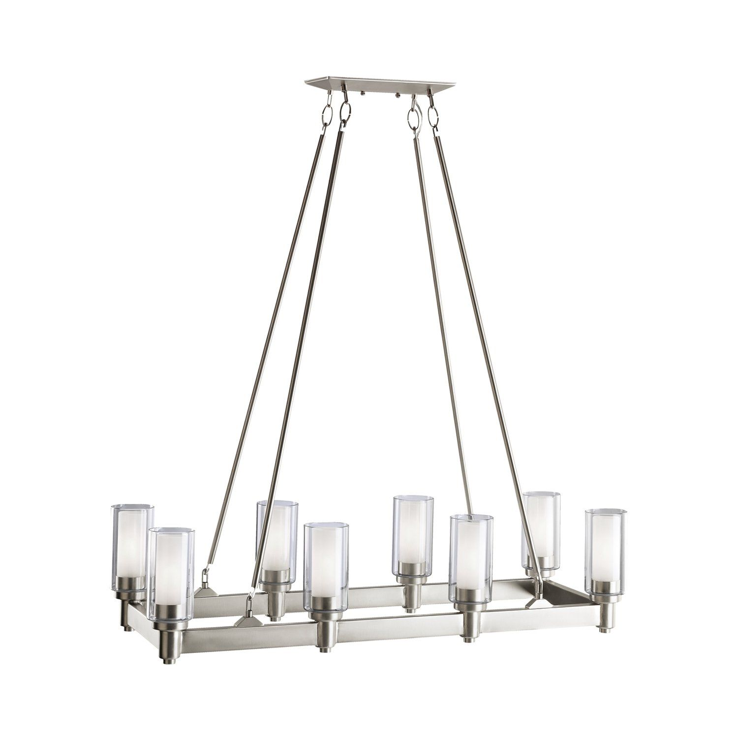 Clean lines nice for a solid rectangular table kichler lighting 8 light linear chandelier in brushed nickel circolo collection kichler lighting pendant ceiling landscape light fixtures arubaitofo Images