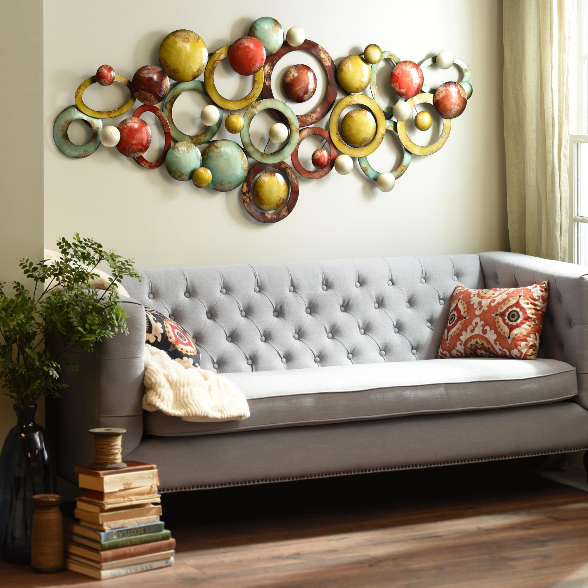 add a pop of color to a room with kirklands unique aurora sky metal wall art