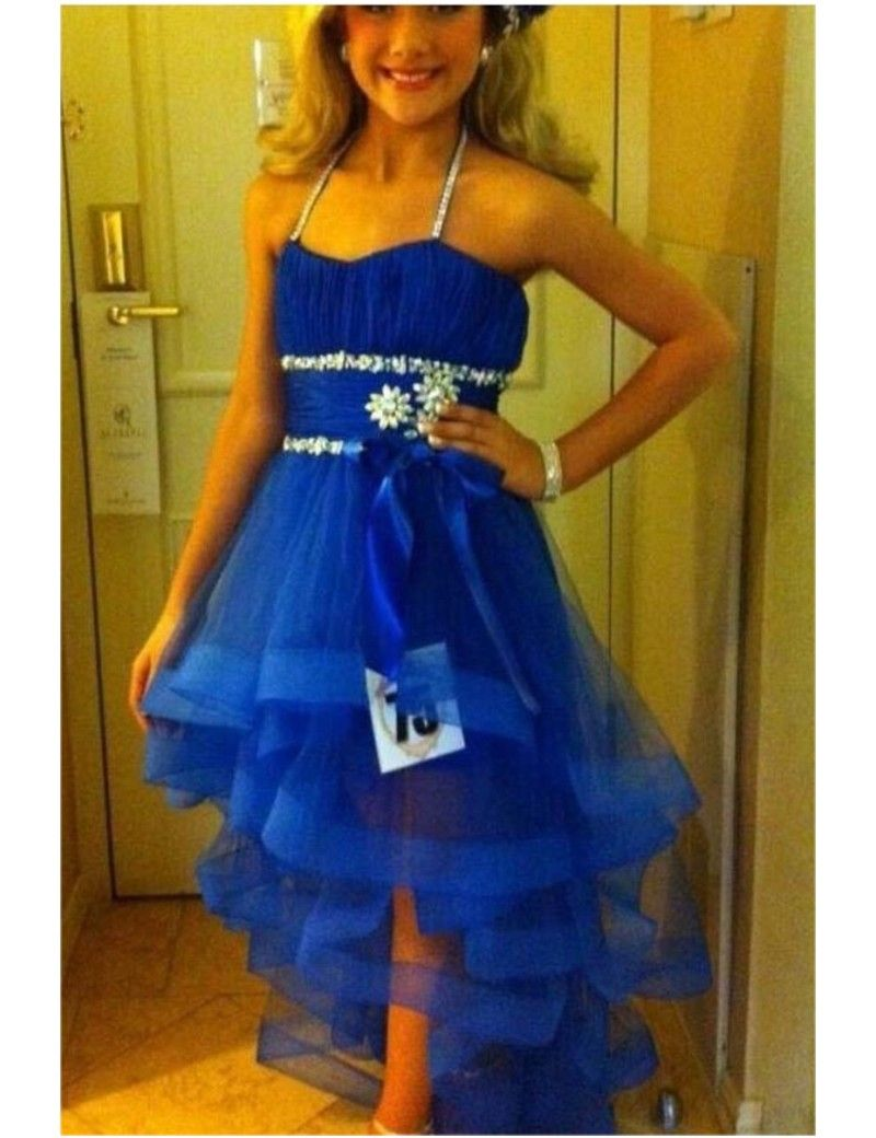 Royal Blue New Halter Crystal Homecoming Dress Front Short