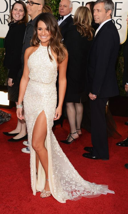Lea Michele at the Golden Globes,perfect gown,perfect hairstyle,perfect jewelry,perfect sandals.