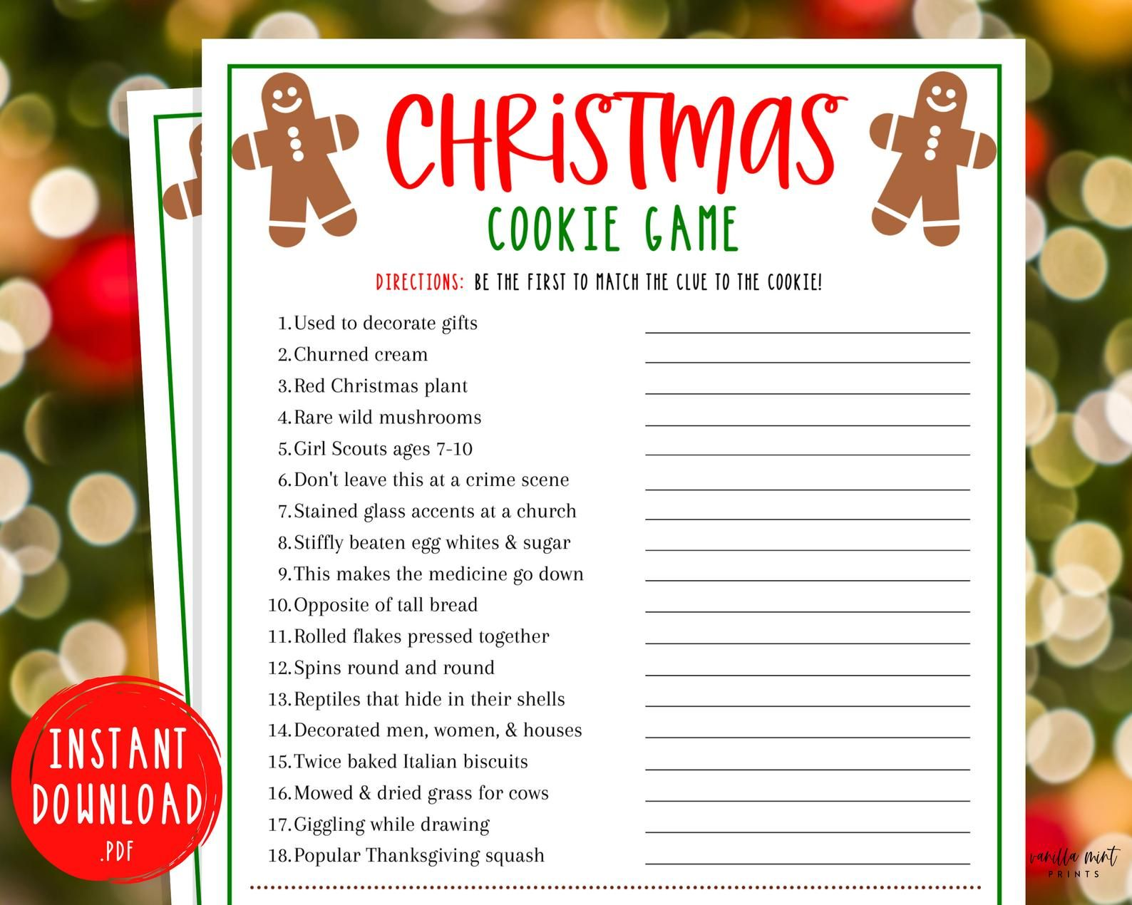 Christmas Cookie Game Game Christmas Trivia Printable