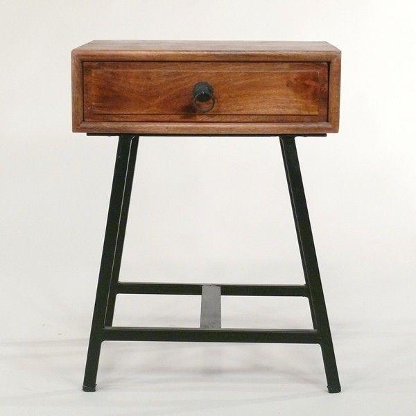 Beistelltisch Und Nachttisch Mit Schublade Holz Und Metall Nightstand Or Endtable Wood And Iron Vintage Industrial Mobel