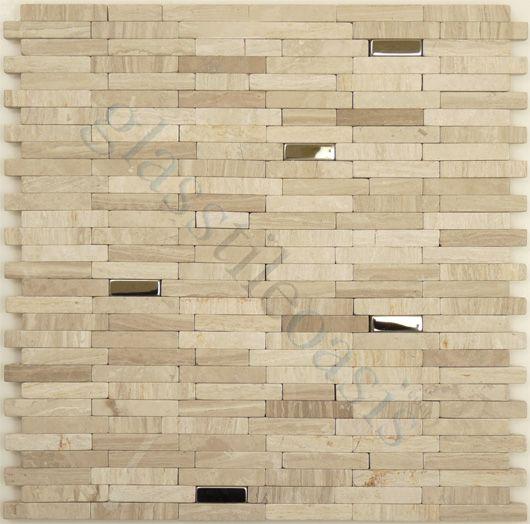 Davinci Metal And Stone Random Bricks Interlocking Stainless Steel Beige Tiles