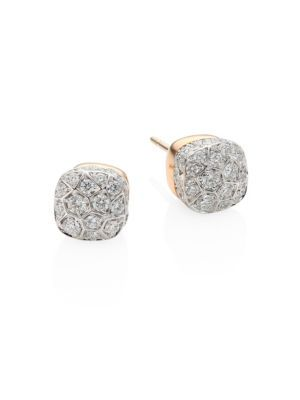 POMELLATO Nudo 18K White & Rose Gold and Diamond Earrings zKZdI7Ea