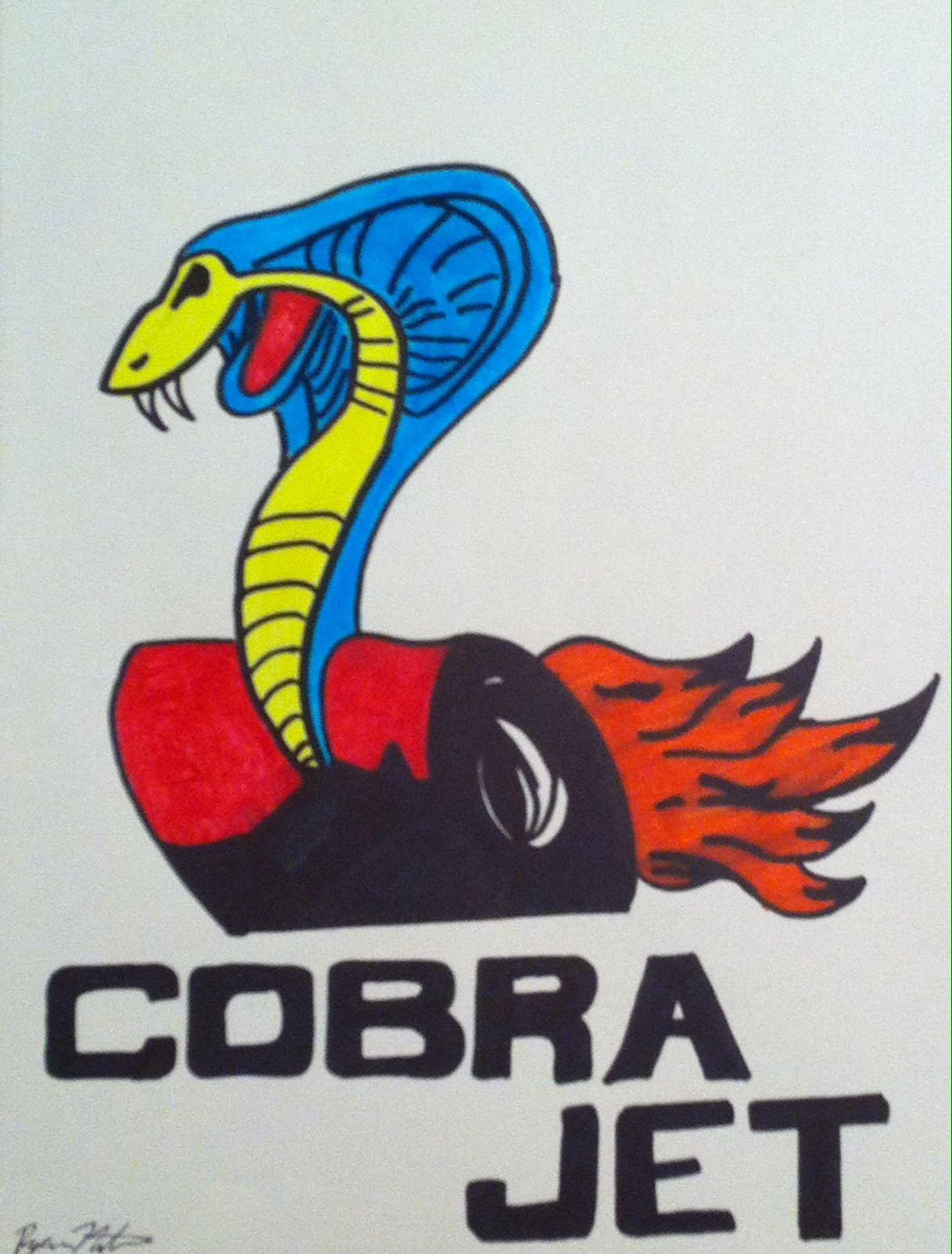 Ford 429 Cobra Jet Logo Car Drawings Mustang Boss Car Drawings