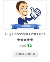 Buy Facebook Likes, post likes and photo likes.