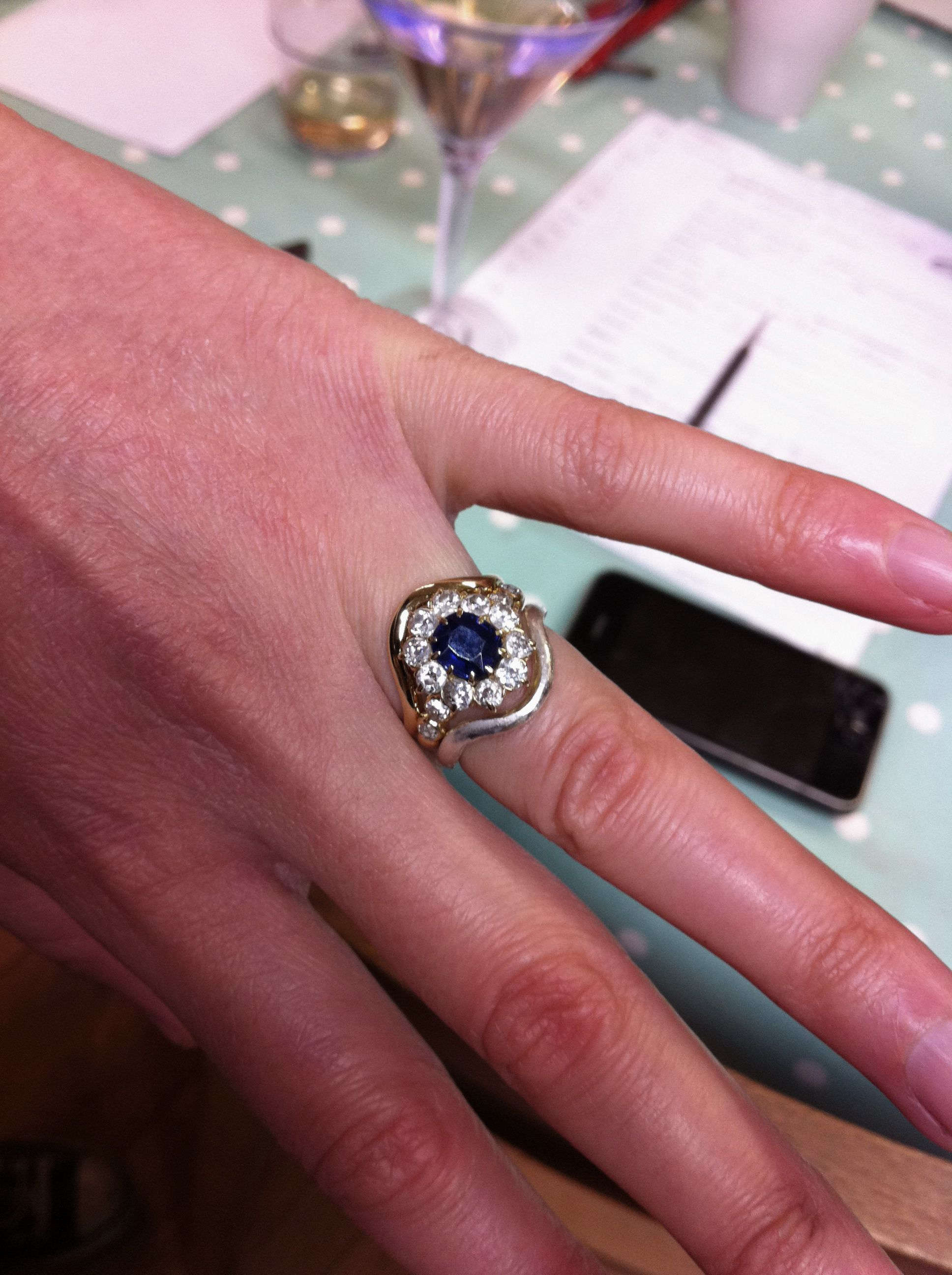 Curved 18ct. Wedding band handmade to fit an antique blue sapphire ...