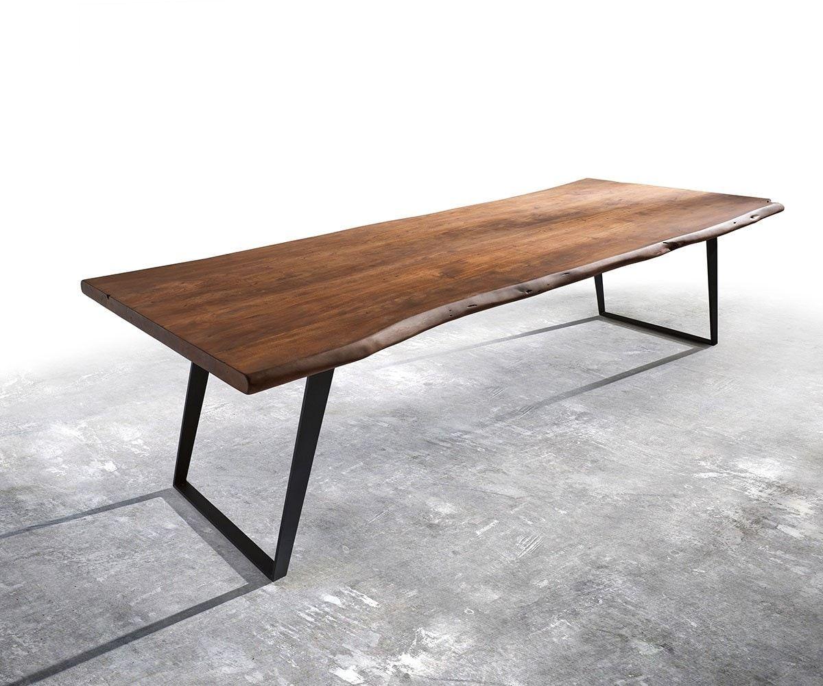 baumtisch live edge 300x100 akazie braun platte 5 5cm gestell schr g schwarz ideen esszimmer. Black Bedroom Furniture Sets. Home Design Ideas