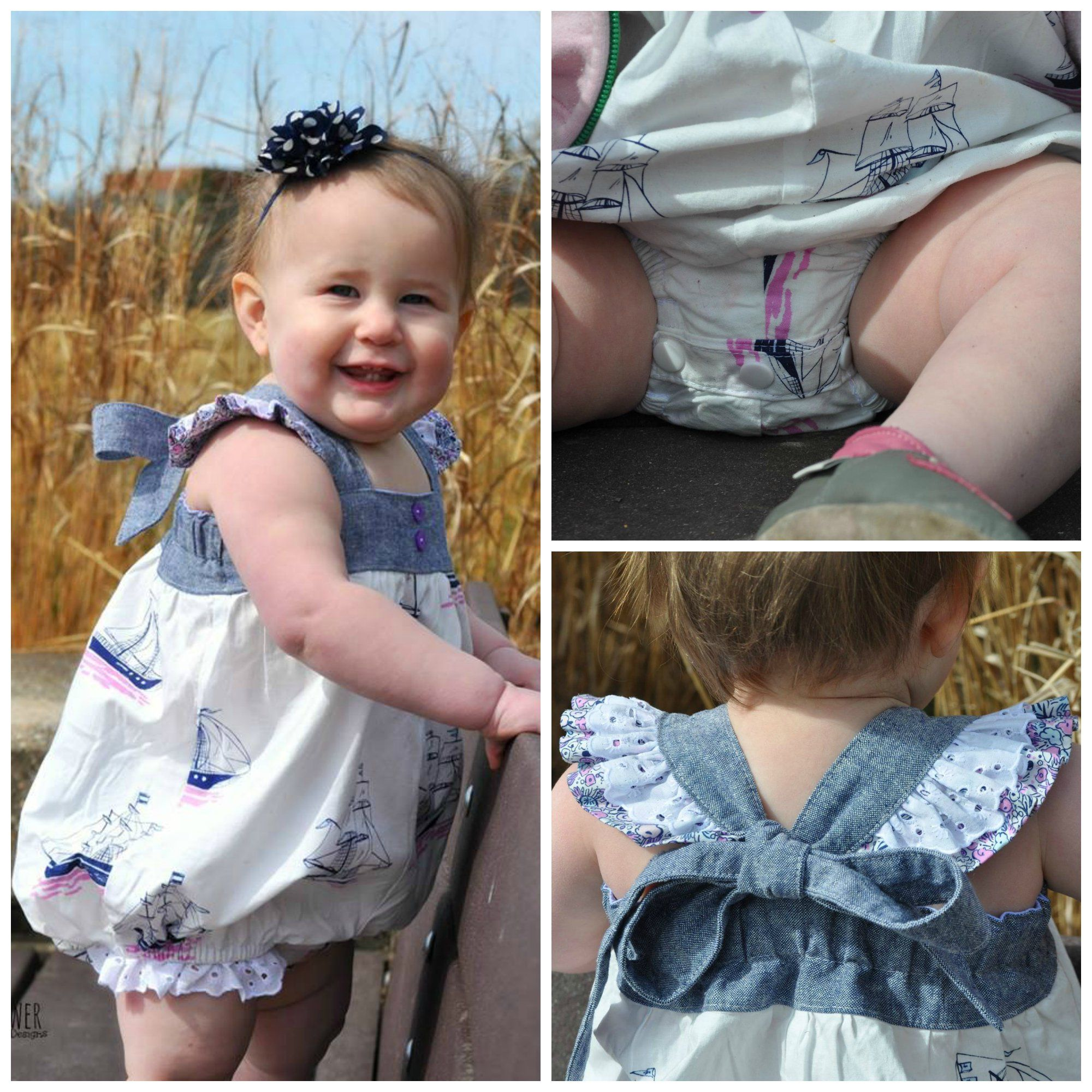 baby molly bubble romper dress top and bloomer smocking