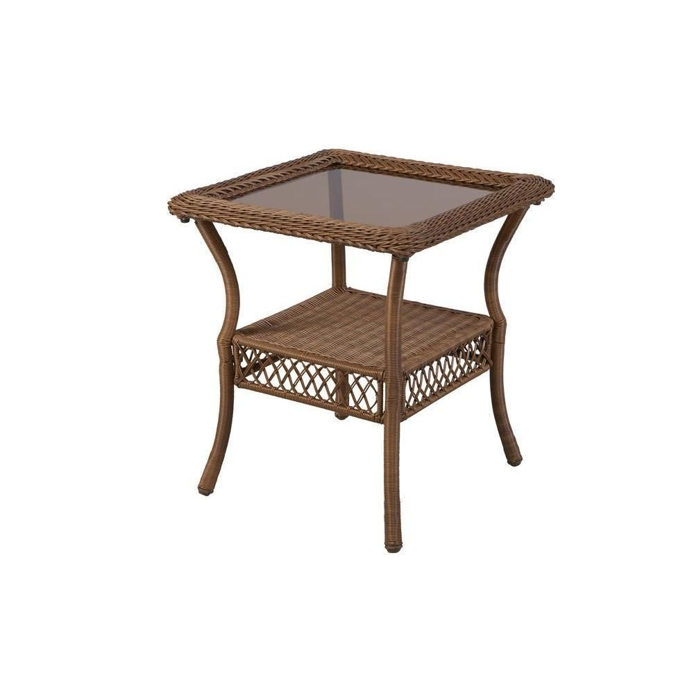 Outdoor End Side Table Glass Top Square Bottom Shelf Brown Wicker Porch Patio #HamptonBay