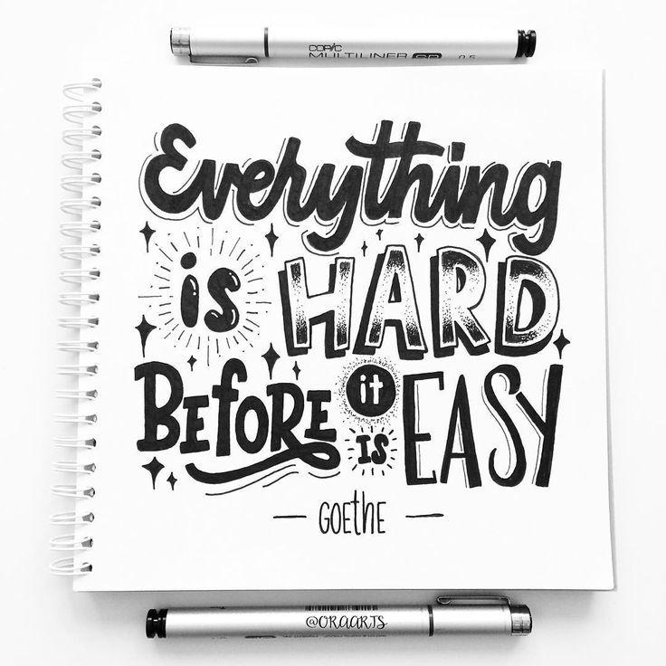 Citaten Goethe : Everything is hard before it easy goethe kaarte
