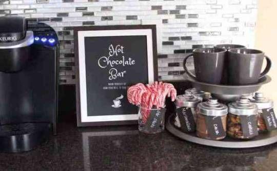 DIY Hot Chocolate Bar #hotchocolatebar DIY Hot Chocolate Bar: I love this hot chocolate bar!! It is such a cute idea for the holidays #hotchocolatebar