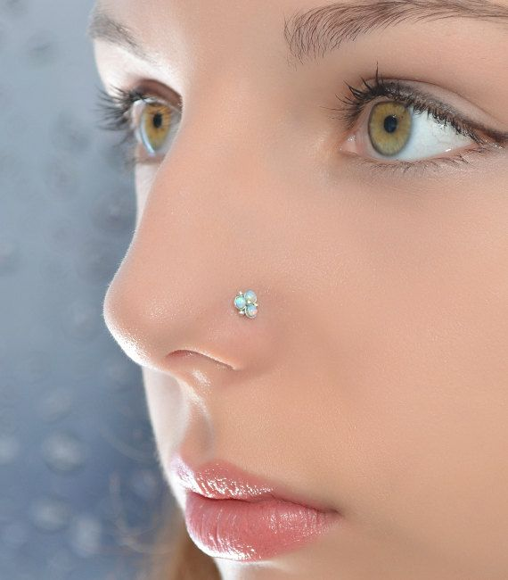 2mm Blue Opal Nose Stud Silver Nose Piercing Helix Jewelry
