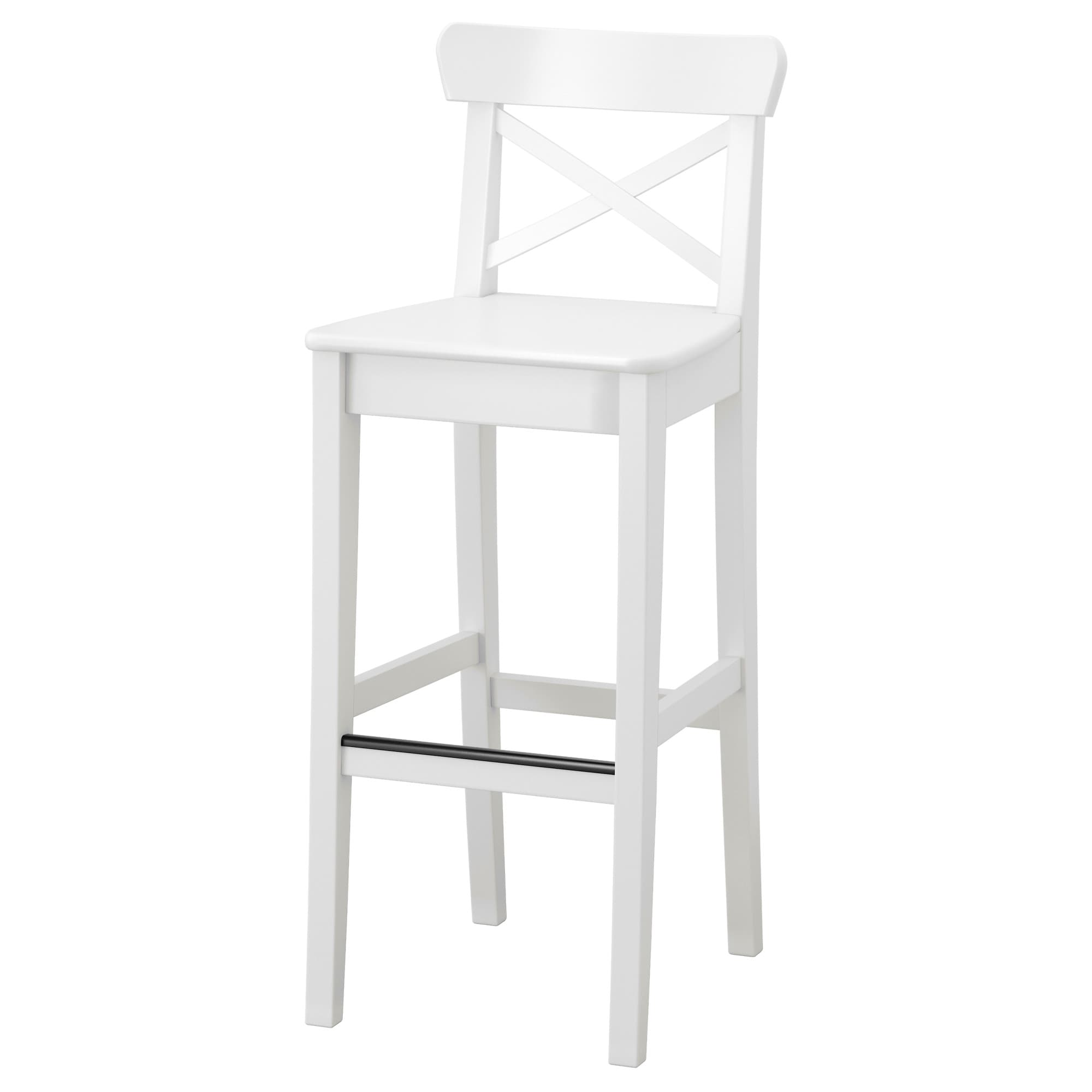 Ingolf Bar Stool With Backrest 29 1 8 Ikea White Bar