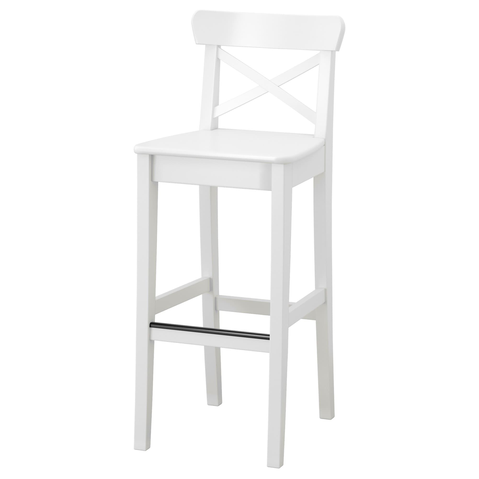 Ingolf Bar Stool With Backrest White 29 1 8 Ikea White Bar Stools Ikea Bar Ikea Barstools