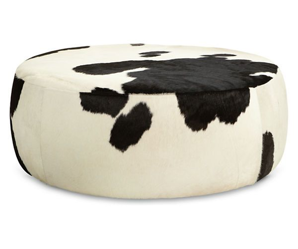Room Board Lind Cowhide Round Ottomans Modern Ottomans
